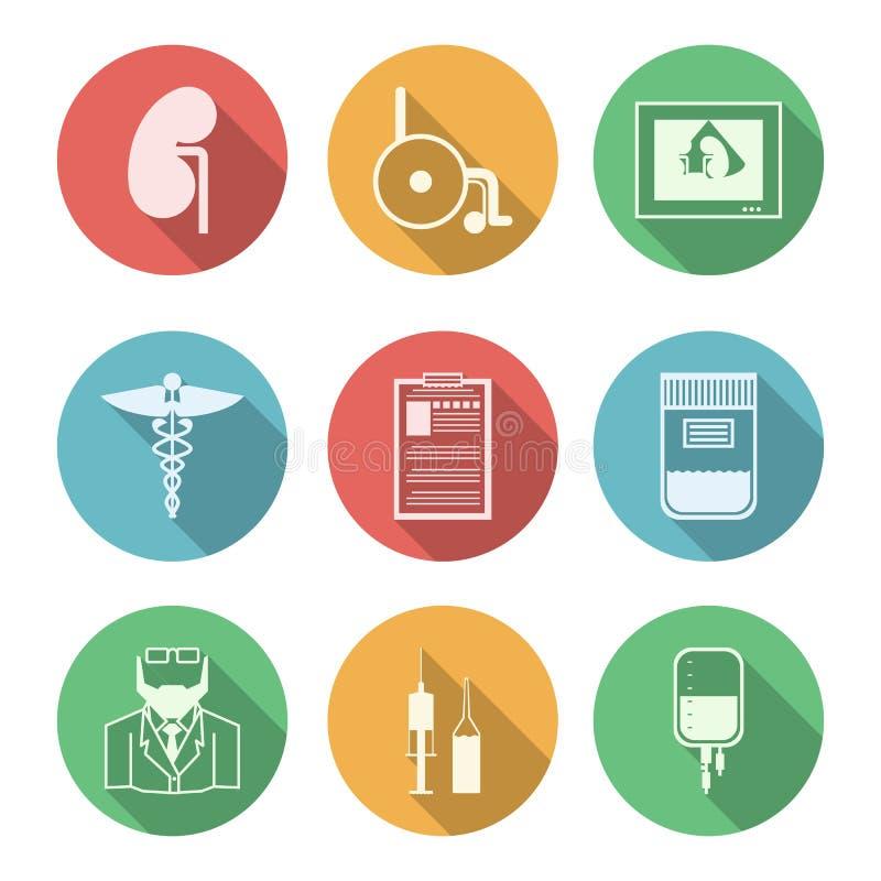 Kulöra symboler för nephrology stock illustrationer