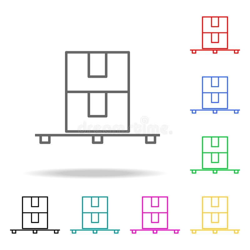 Kulöra symboler för palett Beståndsdel av att sy den mång- kulöra symbolen för mobila begrepps- och rengöringsdukapps Tunn linje  stock illustrationer