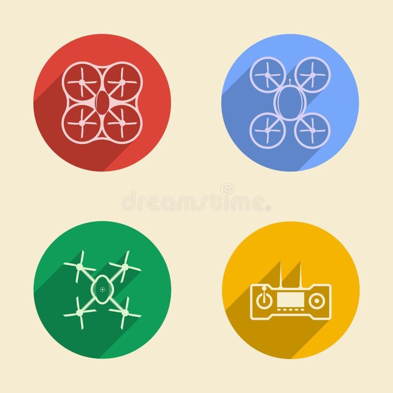 Kulöra symboler för quadrocopter royaltyfri illustrationer