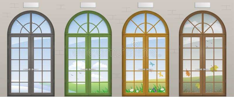 Kulöra välvda dörrar vektor illustrationer
