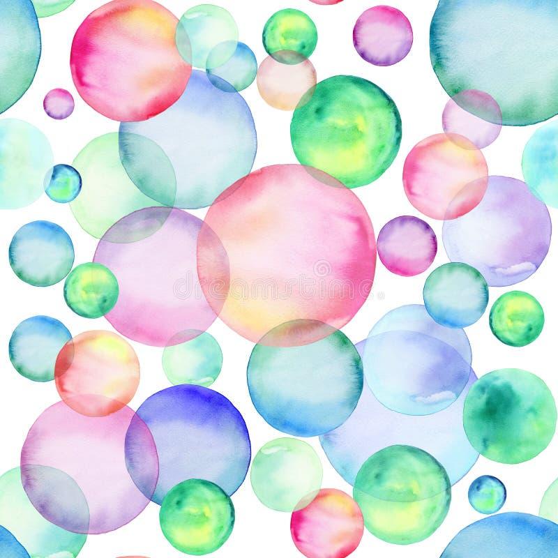 Kulöra vattenfärgcirklar seamless modell Regnbågebubblor tecknade kvinnor för framsidahandillustration s stock illustrationer