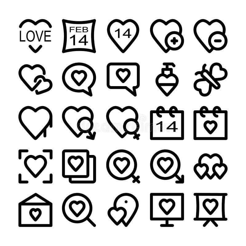 Kulöra vektorsymboler 4 för förälskelse & för romans vektor illustrationer