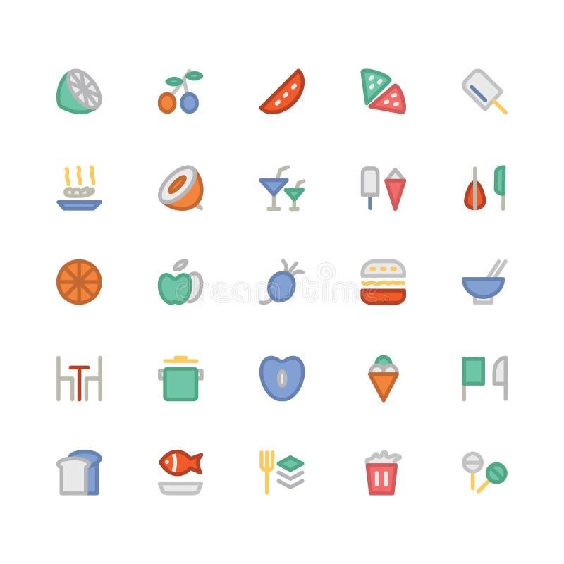 Kulöra vektorsymboler 2 för mat stock illustrationer