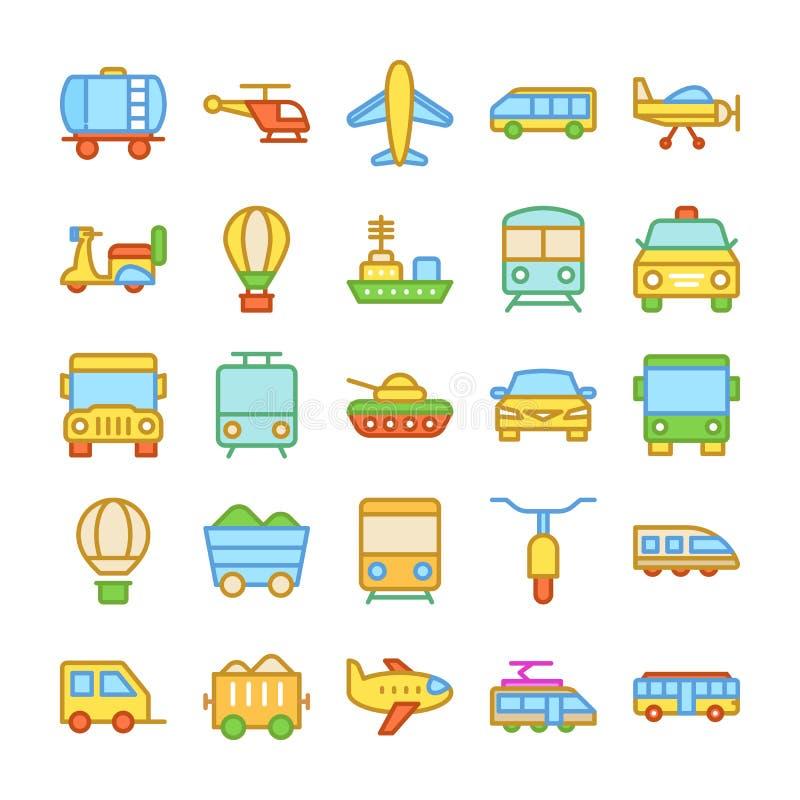 Kulöra vektorsymboler 1 för transport vektor illustrationer