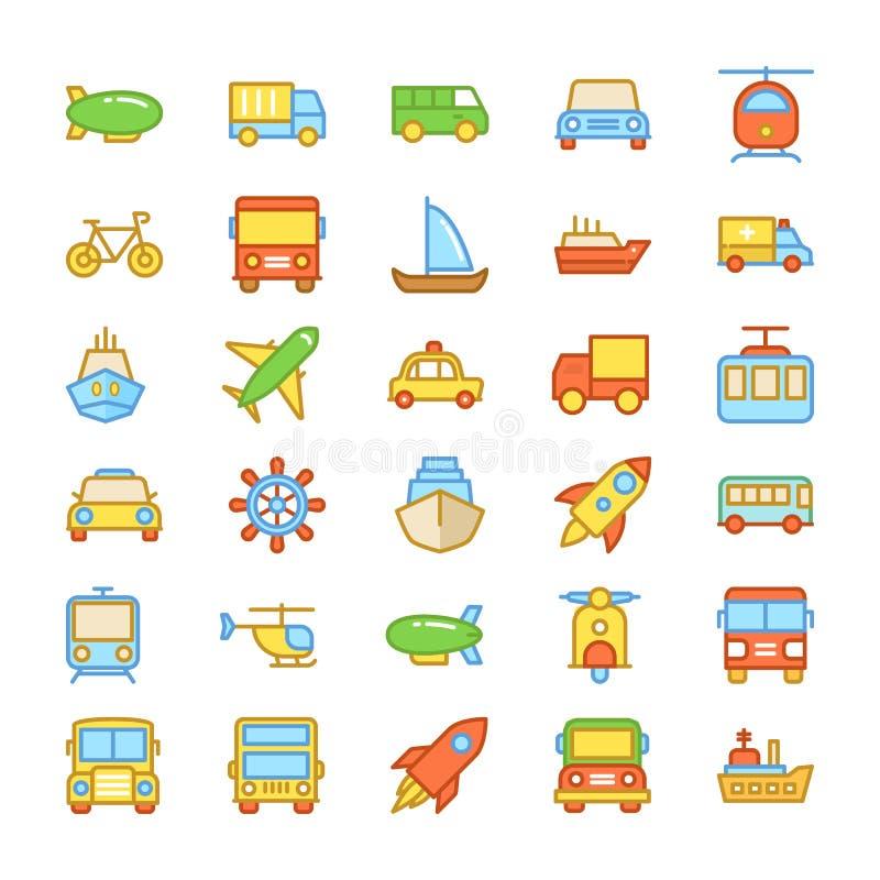Kulöra vektorsymboler 4 för transport stock illustrationer