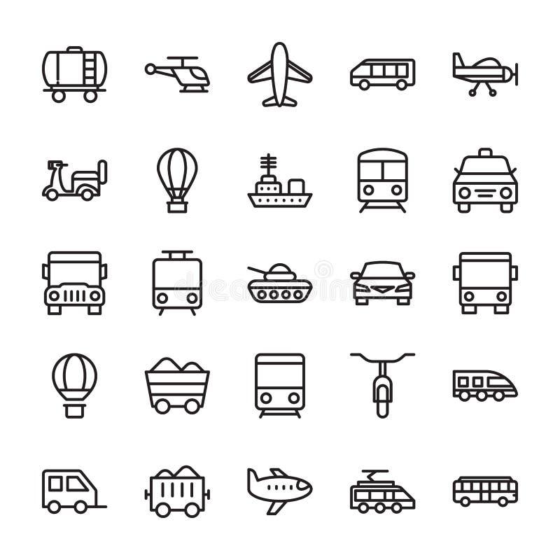 Kulöra vektorsymboler 1 för transport stock illustrationer