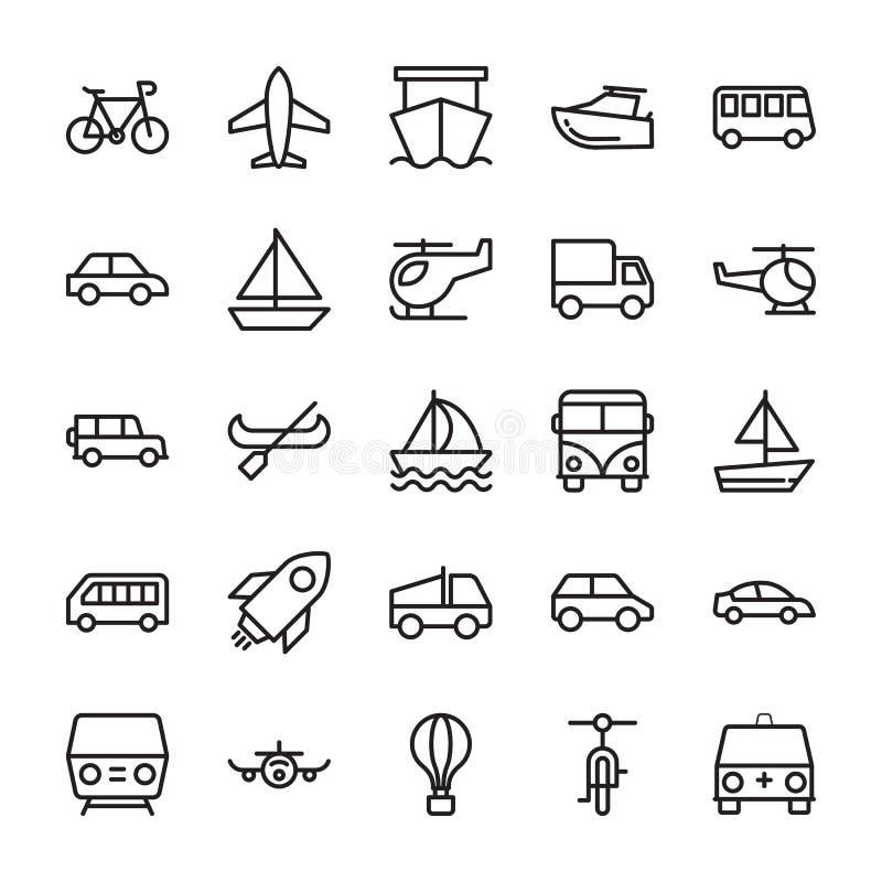 Kulöra vektorsymboler 2 för transport stock illustrationer