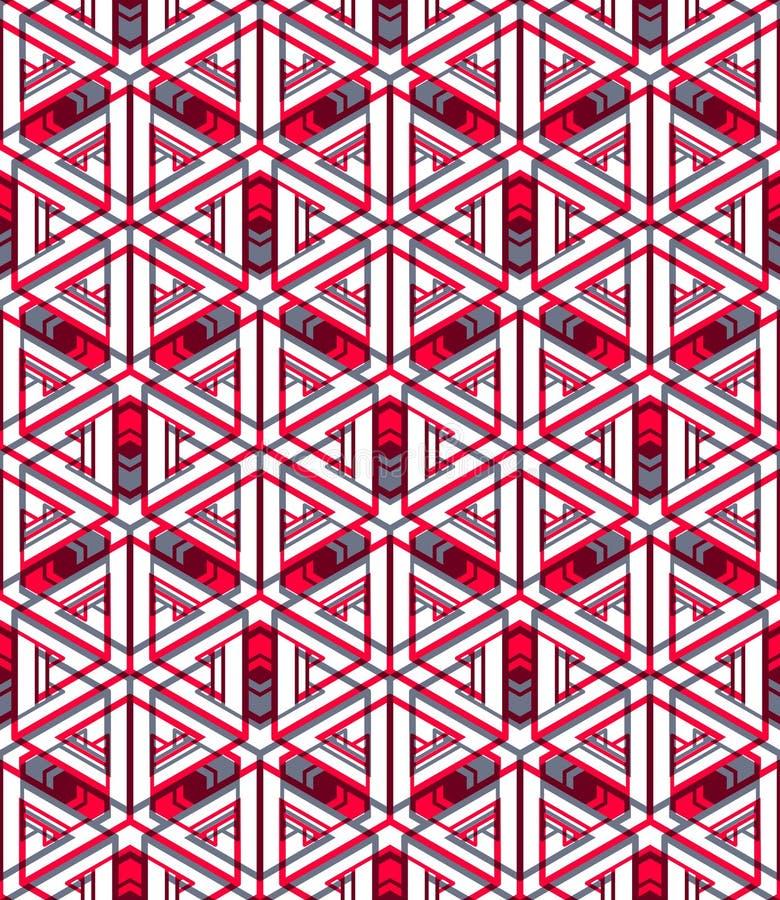 Kulört abstrakt begrepp väver samman den geometriska sömlösa modellen royaltyfri illustrationer