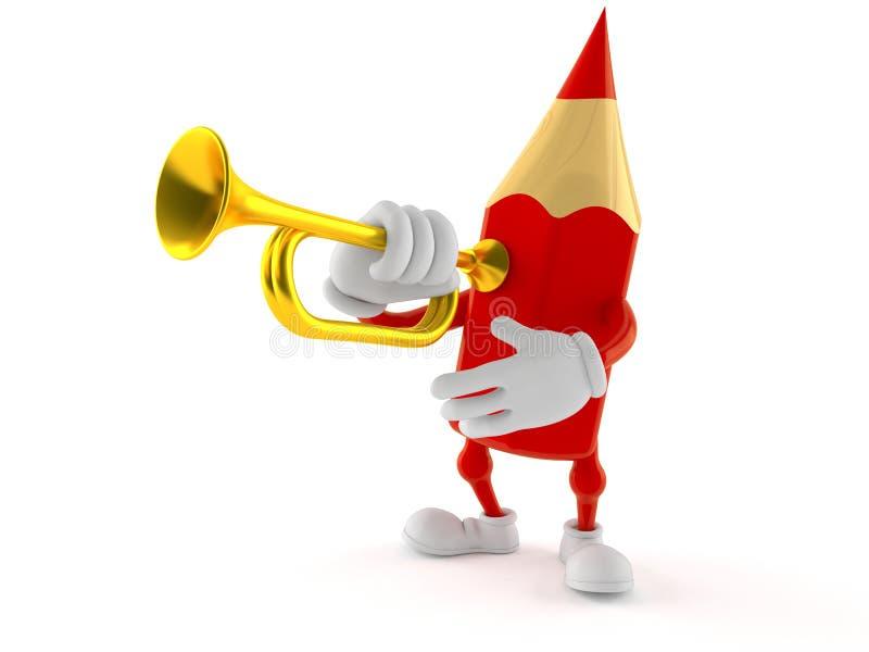 Kulört blyertspennatecken som spelar trumpeten stock illustrationer