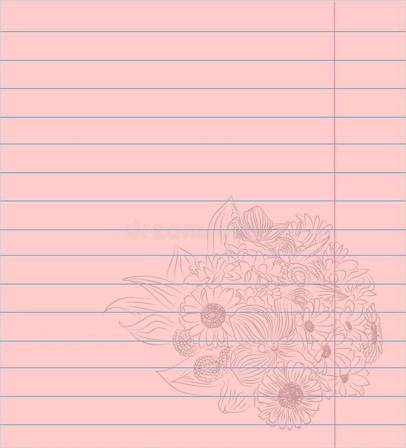 Kulört fodrat pappers- ark för anteckningsbok med den romantiska blommabuketten vektor illustrationer