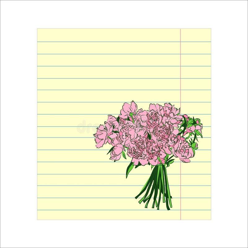 Kulört fodrat pappers- ark för anteckningsbok med den romantiska blommabuketten stock illustrationer