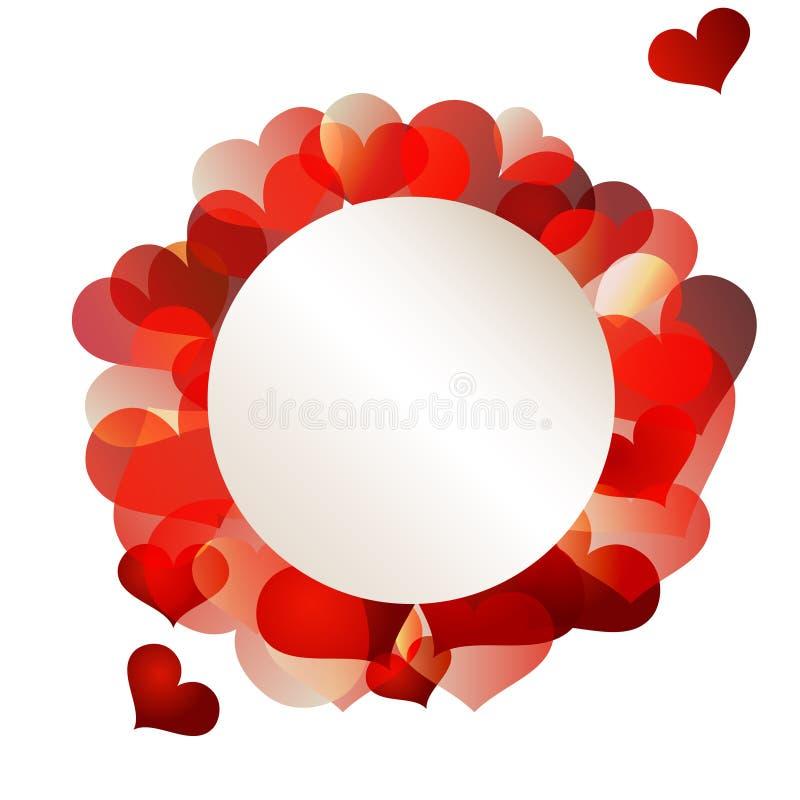 Kulört kort för valentincirkel royaltyfri bild