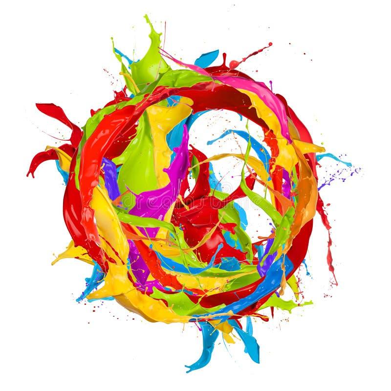 Kulöra färgstänk stock illustrationer