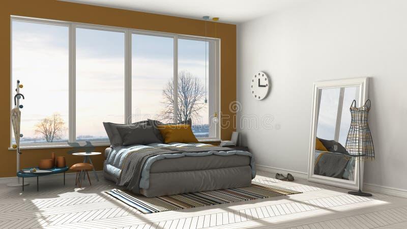Kulört modernt vit- och apelsinsovrum med stor panorama- windo vektor illustrationer