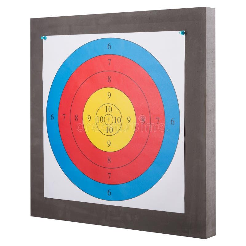 Kulört pappers- mål för att skjuta, på enplattform, på en vit bakgrund, isolat arkivfoton