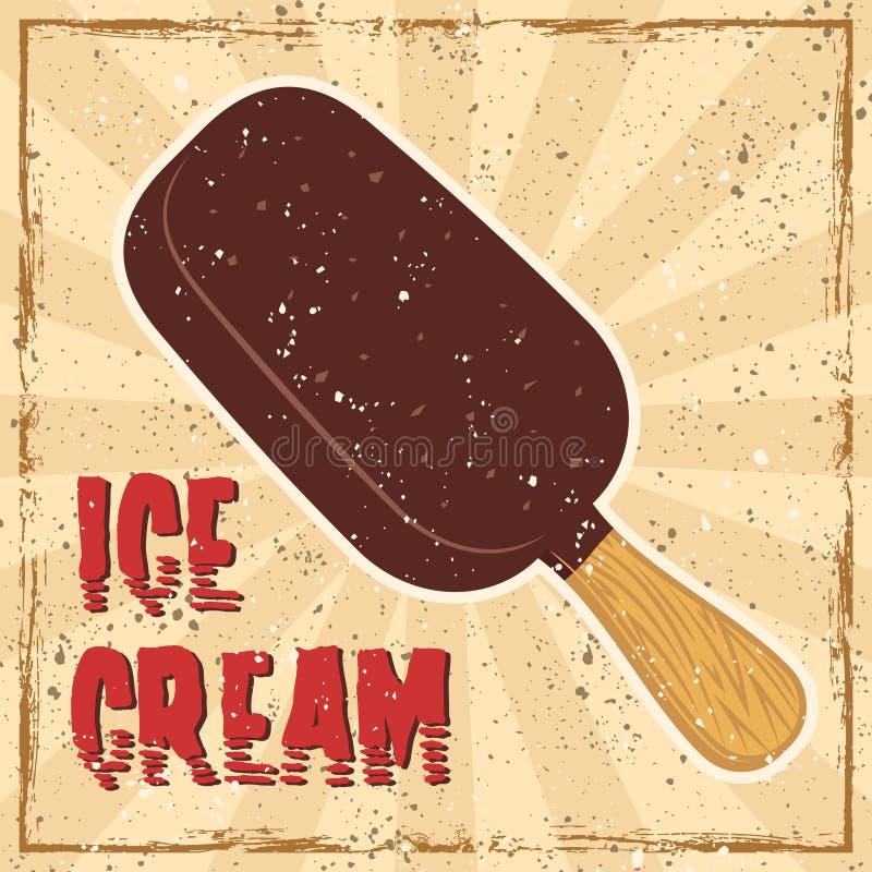 Kulört retro baner för glass i retro stil royaltyfri illustrationer