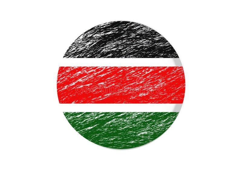 Kulört runt snitt för kenyansk flagga igenom vektor illustrationer