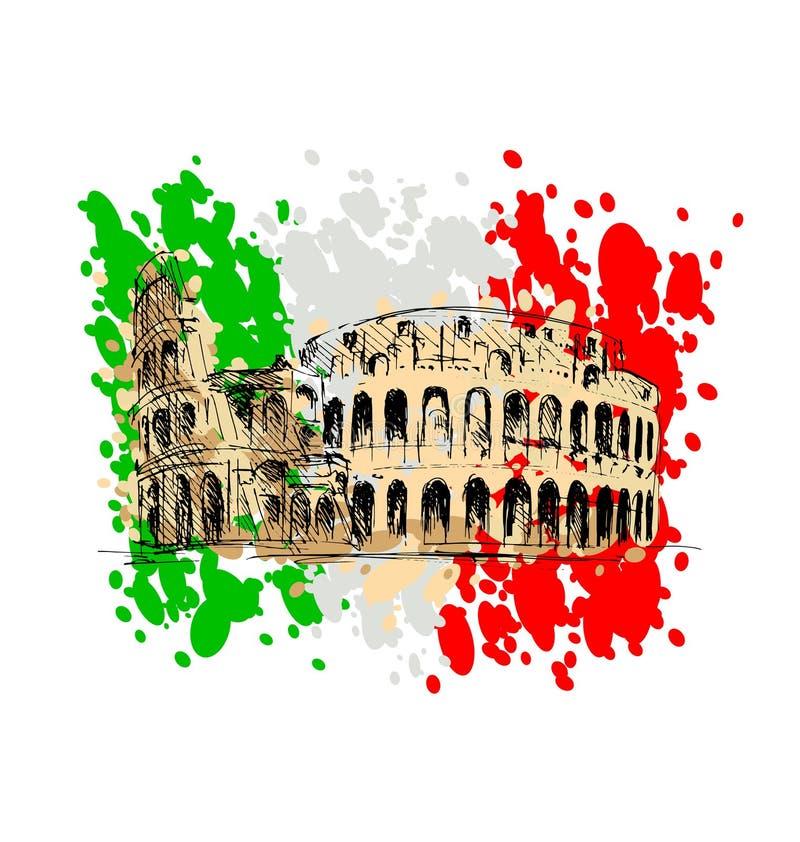 Kulört skissa av Roman Colosseum royaltyfri illustrationer