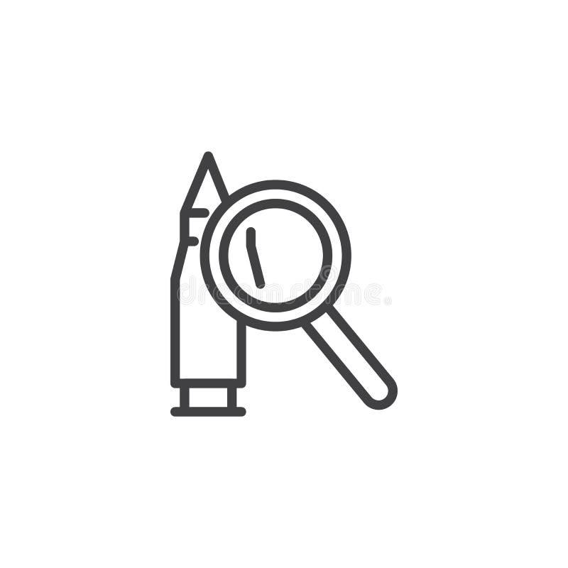 Kul- och förstoringsglasöversiktssymbol royaltyfri illustrationer