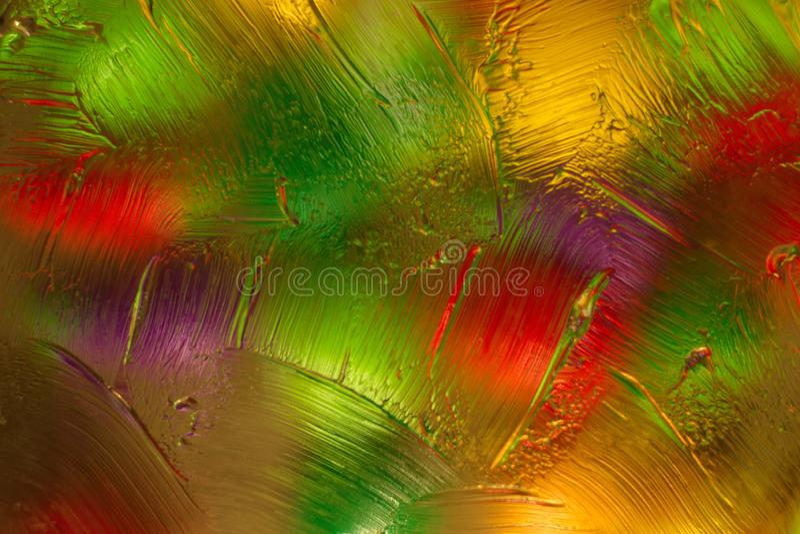 Kul?r abstrakt bakgrund, n?r blanda vatten, olja och den genomskinliga salvan med belysning f?r b?sta sida royaltyfri foto