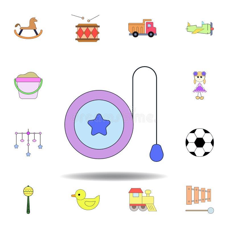 Kul?r symbol f?r tecknad filmleksakyoyo ställ in av symboler för barnleksakerillustration tecknet symboler kan användas för rengö stock illustrationer