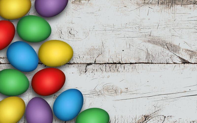Kul?ra p?sk?gg p? tr?bakgrund Lantlig vit bakgrund Färgrika påskägg på en vit trätabell, garnering arkivbilder