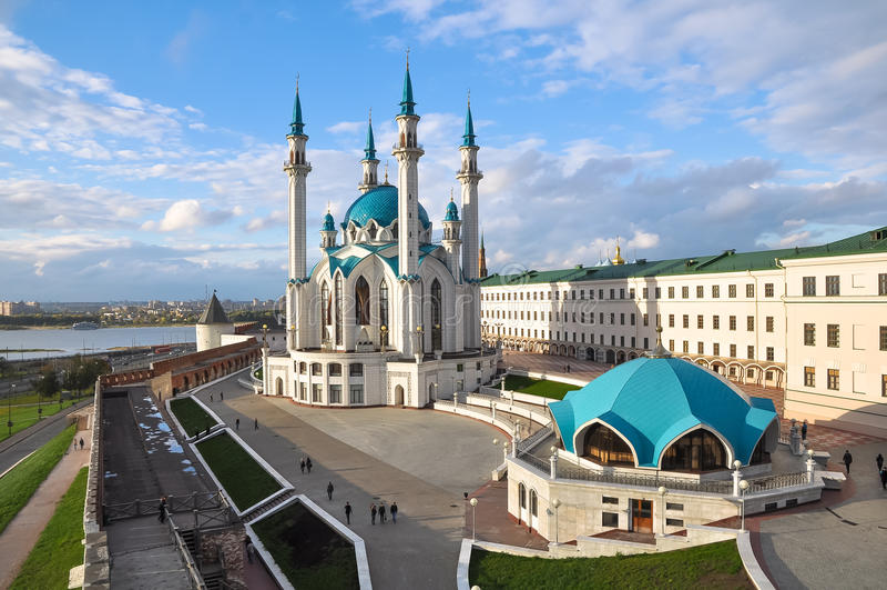 Kul Sharif Mosque in Kazan het Kremlin Rusland stock afbeelding