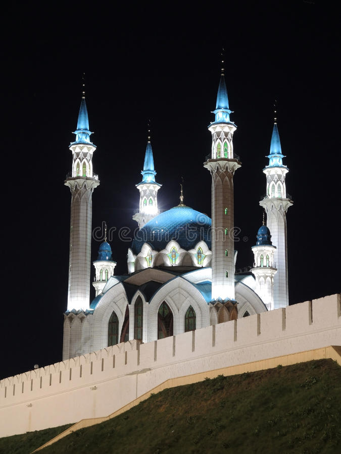 Kul Sharif mosque in Kazan, Russia. With night lighting royalty free stock photos