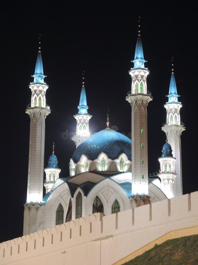 Kul Sharif mosque in Kazan, Russia. With night lighting stock photos