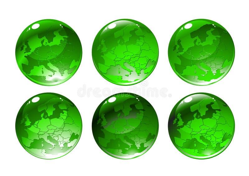 Kul ziemskich zielone ikony ilustracja wektor