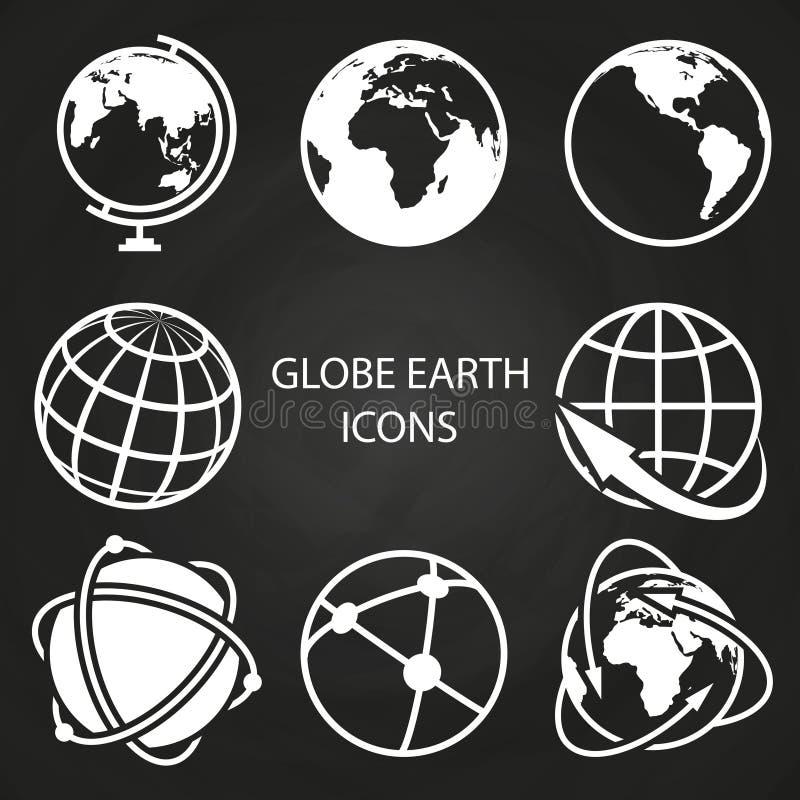 Kul ziemskich ziemskie ikony inkasowe na blackboard ilustracja wektor
