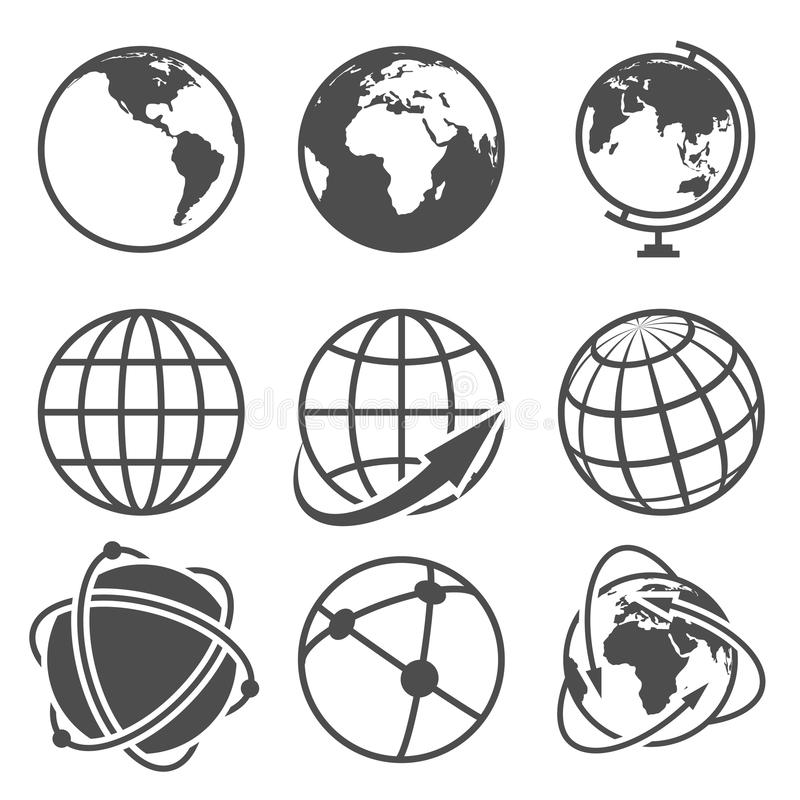 Kul ziemskich ziemskie wektorowe ikony ustawiać ilustracji
