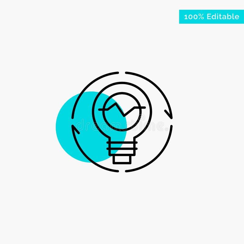 Kula begrepp, utveckling, idé, innovation, ljus, symbol för vektor för punkt för cirkel för viktig för turkos för ljuskula stock illustrationer