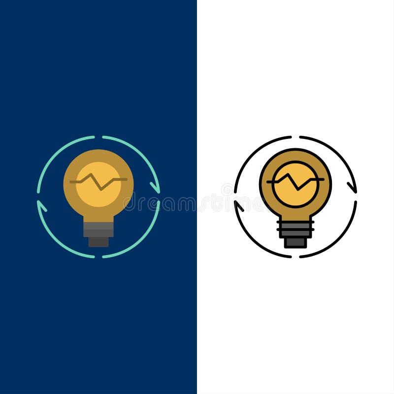 Kula begrepp, utveckling, idé, innovation, ljus, symboler för ljuskula Lägenheten och linjen fylld symbol ställde in blå bakgrund vektor illustrationer
