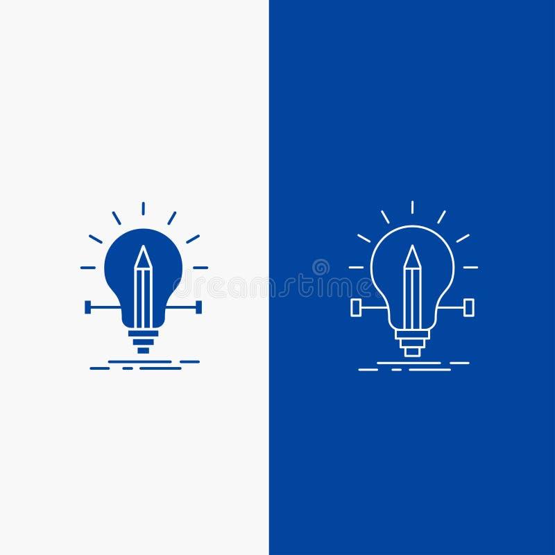 kula idérikt, lösning, ljus, knapp för blyertspennalinje- och skårarengöringsduk i det vertikala banret för blå färg för UI och U stock illustrationer