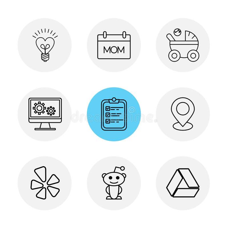 kula mamma, param, bildskärm, skrivplatta, navigering, drev, soc stock illustrationer
