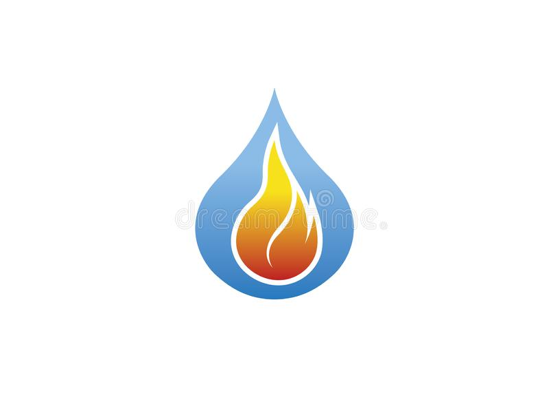 Kula ognia wśrodku kropli woda dla logo projekta royalty ilustracja