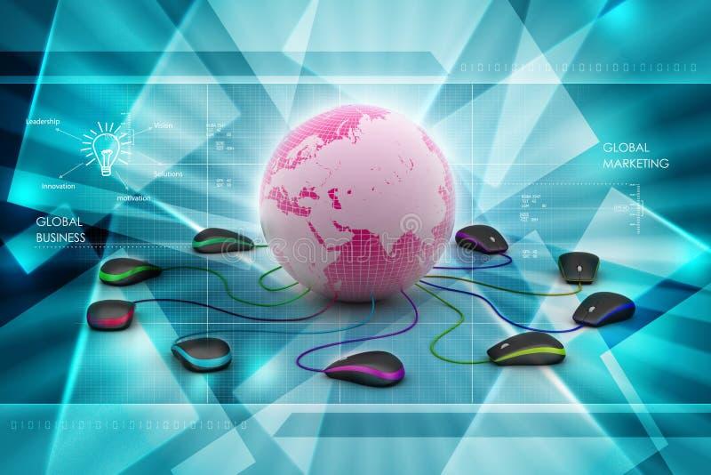 Kula ziemska łączy z komputerową myszą ilustracja wektor