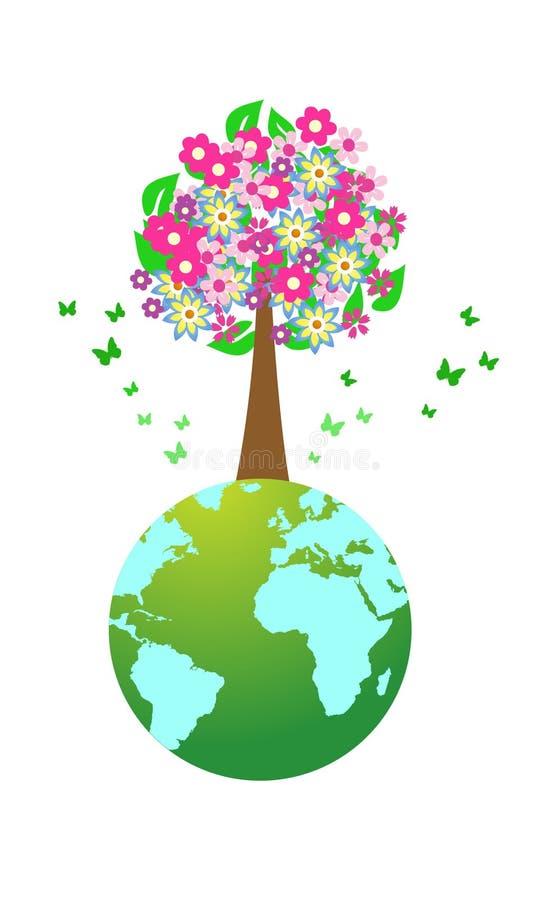 kula ziemska świat ogromny drzewny royalty ilustracja