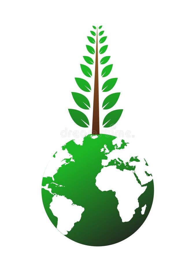 kula ziemska świat ogromny drzewny ilustracja wektor