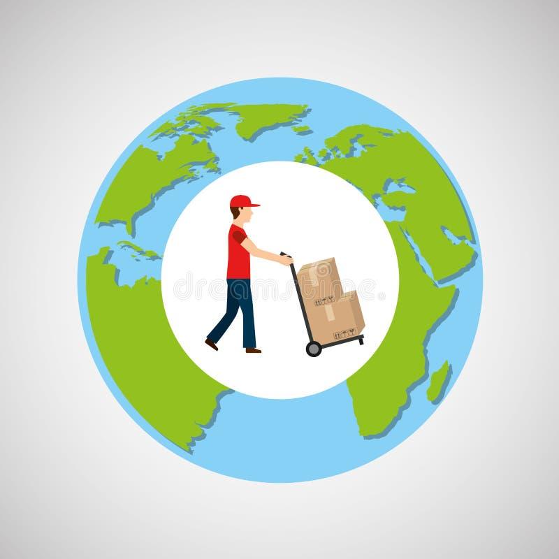 Kula ziemska światowego mężczyzna dosunięcia doręczeniowi pudełka ilustracji