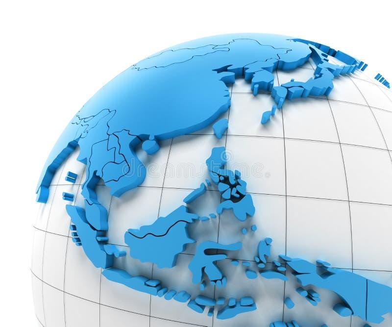 Kula ziemska Azja Południowo-Wschodnia z granicami kraju ilustracja wektor