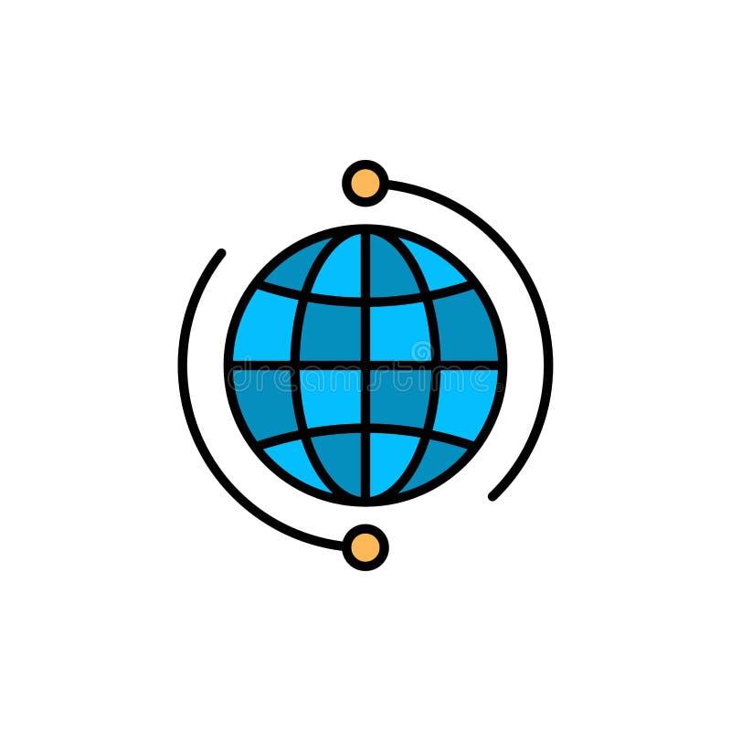 Kula ziemska, biznes, Łączy, związek, Globalna, Internetowa, Światowa Płaska kolor ikona, Wektorowy ikona sztandaru szablon royalty ilustracja