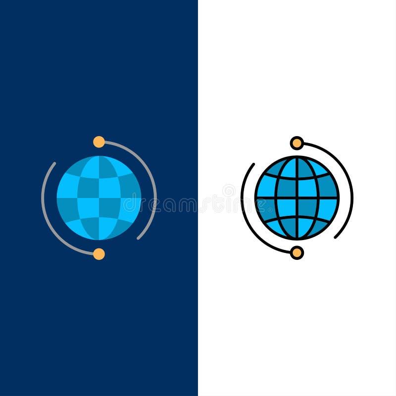 Kula ziemska, biznes, Łączy, związek, Globalne, Internetowe, Światowe ikony, Mieszkanie i linia Wypełniający ikony Ustalony Wekto royalty ilustracja