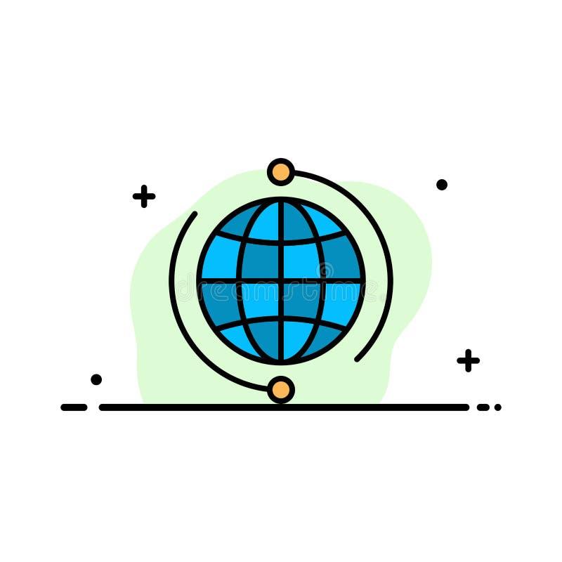 Kula ziemska, biznes, Łączy, związek, Globalnego, Internetowego, Światowego biznesu mieszkania ikony sztandaru linia Wypełniający ilustracja wektor