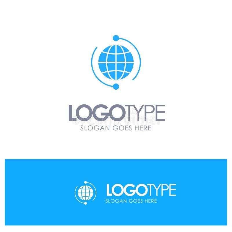 Kula ziemska, biznes, Łączy, związek, Globalny, Internetowy, Światowy Błękitny Stały logo z miejscem dla tagline, ilustracja wektor