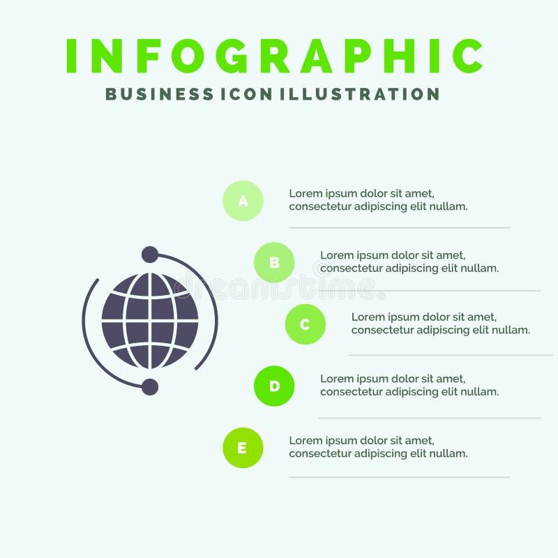 Kula ziemska, biznes, Łączy, związek, Globalny, Internetowy, Światowy Stały ikony Infographics 5 kroków prezentacji tło, ilustracja wektor