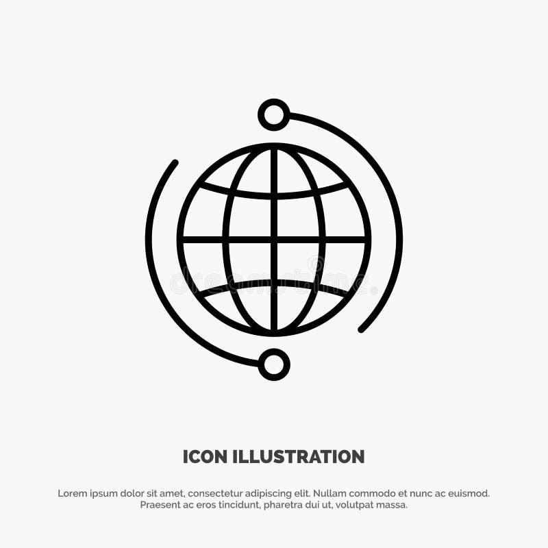 Kula ziemska, biznes, Łączy, związek Internetowy, Globalny, świat ikony Kreskowy wektor ilustracji