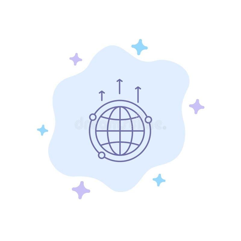 Kula ziemska, biznes, komunikacja, związek, Globalna, Światowa Błękitna ikona, na abstrakt chmury tle ilustracja wektor