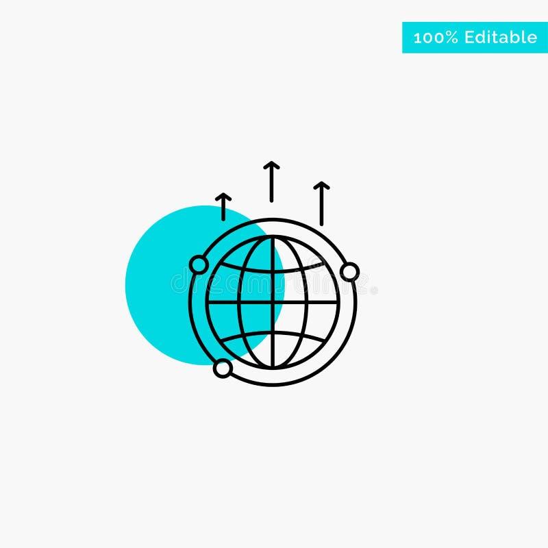 Kula ziemska, biznes, komunikacja, związek, Globalna, Światowa turkusowa główna atrakcja okręgu punktu wektoru ikona, ilustracji